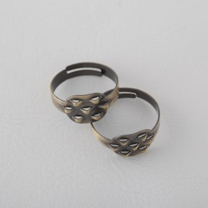Base Anillo  10mm. Con 6 anillas. Bronce Antiguo