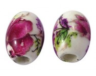 Oval Porcelana Flores 11x8mm. Fucsia
