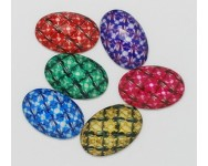 Cabuchon Resina Oval Flores 40x30mm. Multicolor