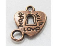 Colgante Corazon Zamak 15X12mm. Bronce Antiguo